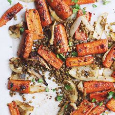 Spicy Maple Roasted Carrots with Crispy Lentils