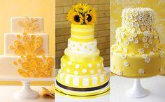 bolo amarelo com flores