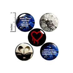 Cool Edgar Allan Poe Buttons Macabre Pins for Backpacks Badges Emo Goth 5 Pack of Lapel Pins 1 Inch