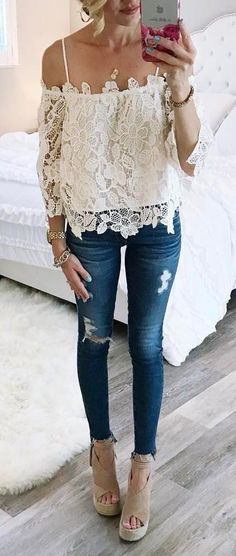 #spring #outfits White Cold Shoulder Lace Top + Ripped Skinny Jeans + Beige Wedge