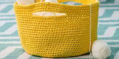Tutorial: a crochet storage basket - Knitting 02 Chunky Knitting Patterns, Crochet Cardigan Pattern, Loom Patterns, Lace Knitting, Knitting Socks, Crochet Patterns, Blanket Patterns, Crochet Storage, Crochet Diy