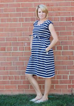 Sailor Stripe Maternity Dress Front Sailor Stripe Maternity Dress