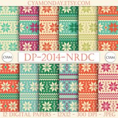 Christmas NORDIC Scrapbooking Digital Paper: Instant Download. Frozen winter nordic background. Nordic winter Pattern by cyamonday on Etsy https://www.etsy.com/listing/210459661/christmas-nordic-scrapbooking-digital