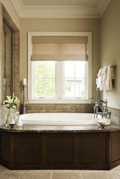 tile color and dark tub surround to match vanity mirror