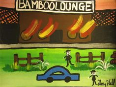 HENRY HILL GOODFELLA'S ORIGINAL PAINTING BAMBOO LOUNGE FIRE 3 day AUCTION