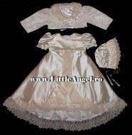 Costum de botez cu rochita cu trena MICA PRINTESA LUXE EDITION