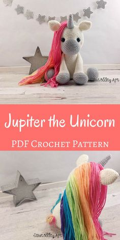 This is such a cute crochet pattern! Jupiter the Unicorn would be a fun creature to make and would be a great gift for a little girl. #crafts #projects #yarn #crochet #unicorns #rainbow #etsy #affiliate