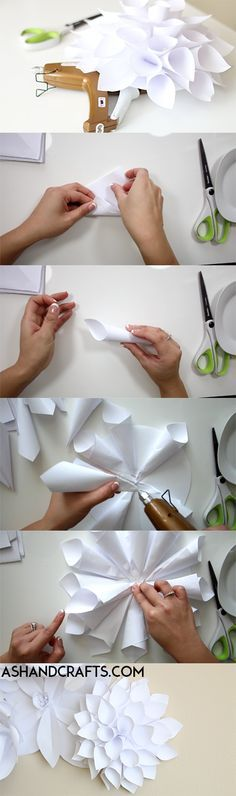 Learn how to create a paper dahlia to use as a part of a paper flower backdrop. Perfect for weddings or any special occasion.