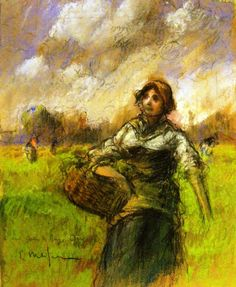Eliseo Meifrén y Roig (Spain 1857-1940)Campesina (1900)pencil, charcoal and crayons on paper private collection