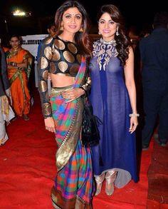Shilpa Shetty with her dearest sister Shamita Shetty at Umang Hindu India, Shamita Shetty, Old Film Stars, Dear Sister, Shilpa Shetty, Indian Designer Wear, Indian Beauty, Sarees, Marriage