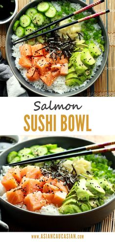 This healthy, no-fuss Salmon Sushi Bowl recipe will satisfy all of your sushi cravings without having to go out! Comes together in just 10 minutes! Healthy Sushi, Healthy Asian Recipes, Healthy Snacks, Healthy Eating, Dinner Healthy, Yummy Healthy Food, Yum Food, Healthy Dinners, Salmon Sushi