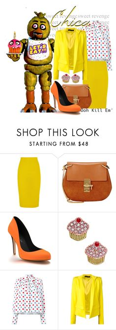"""""""Chica ~ Five Nights at Freddy's"""" by freezespell ❤ liked on Polyvore featuring J.Crew, Chloé, Shoes of Prey, Kate Spade, J.W. Anderson and Alexandre Vauthier"""