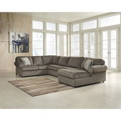 3 Piece Modern Grey Microfiber Reversible Sectional Sofa With Large Ottoman