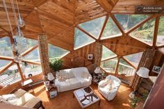 """""""Inside a geodesic dome home Casa Dos Hobbits, Geodesic Dome Homes, Dome House, Earthship, Round House, Architecture, Renting A House, Future House, House Plans"""