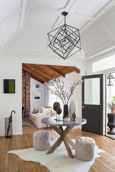 20 Designer Entryway Ideas to Steal | HGTV Interior Work, Interior Photo, Interior Design, Round Hanging Mirror, Multifunctional Furniture, Floor Patterns, Design Firms, White Walls, Contemporary