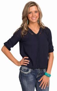 Double Zero Women's Navy Peasant Top | Cavender's