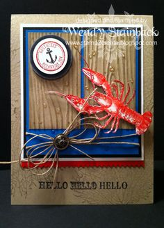 {note to self: I would scale this to a tag} lobster, anchor, fiber, button, red-white-blue, nautical