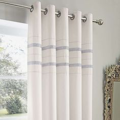 Available in a choice of drops, these white eyelet curtains feature two strips of silver diamantes and have a thermal lining to help regulate the temperature. White Eyelet Curtains, Ready Made Eyelet Curtains, Blackout Eyelet Curtains, Curtains Dunelm, Blue Lounge, Blinds, Master Bedroom, Silver, Furniture