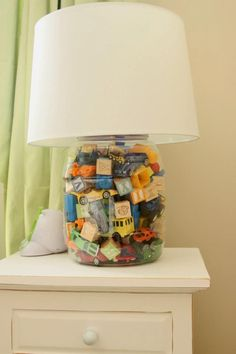 Hayes' big boy bedroom lamp made from a cheese it container.