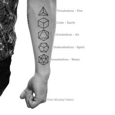 Twin Monkey Tattoo - Yuki Onna - Twin Monkey Tattoo Platonic Solid In three-dimensional space, a Platonic solid is a regular, convex polyhedron. It is constructed by congruent regular polygonal faces with the same number of faces meeting at each. Dreieckiges Tattoos, Mini Tattoos, Body Art Tattoos, Small Tattoos, Sleeve Tattoos, Tatoos, Buddha Tattoos, Band Tattoo, Get A Tattoo