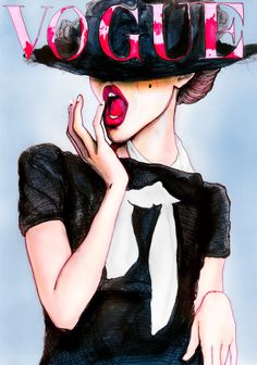 Artist Danny Roberts Painting of Img Fashion model Frida Gustavsson on the cover of Vogue Germany March 2010 she is standing with her hand on her bright red lips