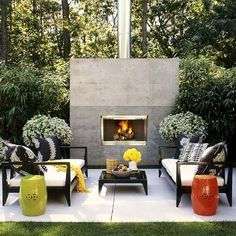 Here's the concept for the outdoor living room: black and white, pops of bold color, and fun Regency-inspired patterns.  Very glam!