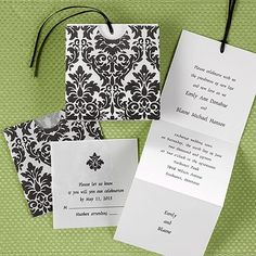 Black Flourish wedding invitation.