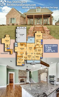 Architectural Designs Acadian House Plan 510002WDY! This 4 bed home gives you over 3,200 square feet of heated living space PLUS over 400 square feet over the garage with a full bath giving the potential for a 5th bedroom. Ready when you are.  Where do YOU want to build? #510002WDY #adhouseplans #architecturaldesigns #houseplan #architecture #newhome  #newconstruction #newhouse #homedesign #dreamhome #dreamhouse #homeplan  #architecture #architect #acadianhouse #acadianhome