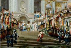 L'homme qui, le dos courbé par déférence, gravit ce majestueux escalier est Louis II de Bourbon, dit le Grand Condé. La scène se passe au château de Versailles dans l'escalier des Ambassadeurs, auj...
