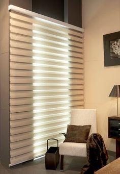 Parecen persianas de tela  pero no lo son. Son sistemas duales .  Los estores enrollables Noche y Día , son cortinas modernas  que tienen un...