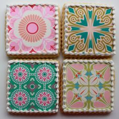 "LOOK at these amazing ""tile"" Mother's Day Pattern Cookies --   Gift Box Half Dozen by whippedbakeshop, $33.00"