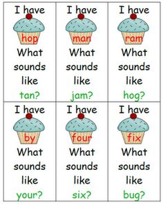 Cupcake theme, I Have-Who Has game for rhyming words.  From the blog, Kindergarten Sharing