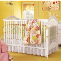 pink and yellow nursery - love the crazy quilt idea
