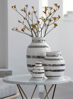 Vase - Silver & White