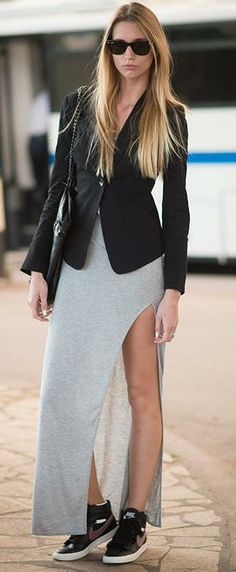 Gray Maxi + Black Blazer