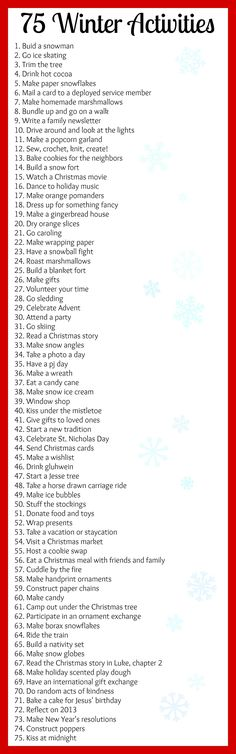 75 Winter Activities for the bucket list or to fill an advent calendar! – – Winter Bucket List 75 Winter Activities for the bucket list or to fill an advent calendar! Noel Christmas, Winter Christmas, All Things Christmas, Winter Things, Xmas, Christmas To Do List, Centerpiece Christmas, Christmas Decorations, Christmas Activities