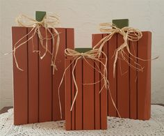 Wooden Pumpkins Set of 3 Country Rustic Lodge by TwoArtisans