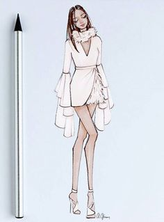 zeichnen – Keep up with the times. Dress Design Drawing, Dress Design Sketches, Fashion Design Sketchbook, Fashion Design Drawings, Dress Drawing, Fashion Figure Templates, Fashion Design Template, Fashion Drawing Dresses, Fashion Illustration Dresses