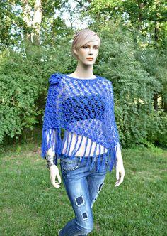 Blue Shawl Blue Cover-Up Blue Poncho Boho by CasadeAngelaCrochet
