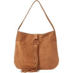 Mr. Large Leather Hobo - Brown ($299) ❤ liked on Polyvore featuring bags, handbags, shoulder bags, brown, white leather purse, genuine leather hobo handbags, leather shoulder bag, hobo purses and leather hobo shoulder bags