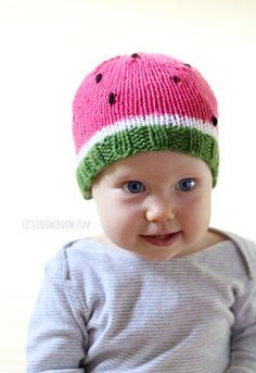 Sweet Watermelon Hat Free Knitting Pattern! | littleredwindow.com