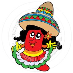 cartoon of a chili pepper in woman clothes image - Google Search