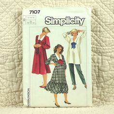 Maternity Dress, Top and Pants, Simplicity 7107 Pattern, FREE SHIP, V Neck, Collar, Flared, Cuffs, 1985 Uncut, Size 12 14 16, 5-oz by DartingDogPatterns on Etsy