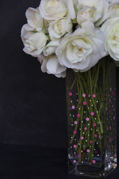 DIY Polka Dot Vase - Great craft idea for last minute Mother's Day gift! @Madefrompinterest.net