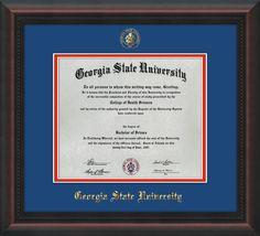 GSU Diploma Frame - Mahogan Braid - w/GSU Seal - Royal Blue on Red mat – Professional Framing Company