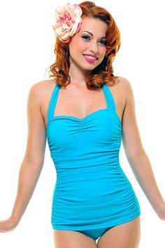 BEST SELLER! Vintage Inspired Swimsuit 50's Style Turquoise One-Piece - Unique Vintage - Cocktail, Pinup, Holiday & Prom Dresses.