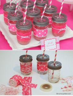 little girl birthday party with pink lemonade in #DIY #MasonJar sips via @Amma Adjubi-Archibald