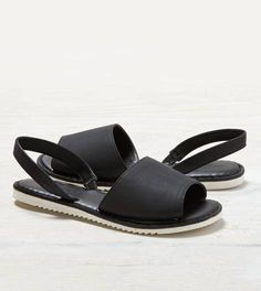 Black AEO Wide Strap Slingback Sandal