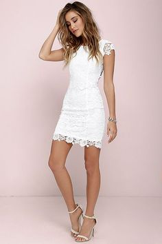 We admire any girl who can put together a great outfit, but honestly, the Hidden Talent Backless Ivory Lace Dress makes it easy! This beautiful bodycon dress has sheer cap sleeves and a backless design (with top button). Hidden back zipper/hook clasp. Grad Dresses, Trendy Dresses, Homecoming Dresses, Sexy Dresses, Casual Dresses, Short Dresses, White Graduation Dresses, Graduation Dress College, Wedding Dresses