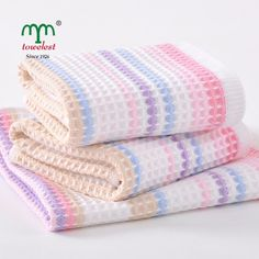 """3PC Waffle 100% Cotton Striped Hand Towels  Face Washcloths 12"""" Square Baby Bibs #MMY"""